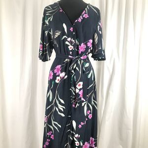 NWOT Cotton On Navy Blue Floral Maxi Dress Large